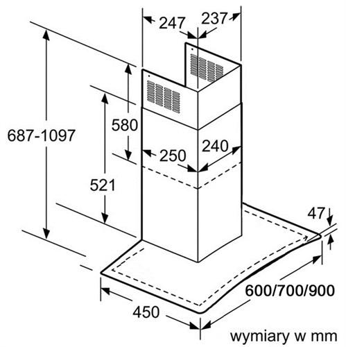 Máy hút mùi Bosch DWA07E651 kính 70cm